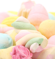 Different colorful marshmallow close up.