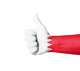 Hand with thumb up, Bahrain  flag painted