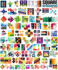Big set of infographic modern templates - squares