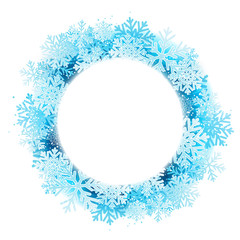 Winter background with blue snowflakes