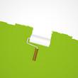 Hintergrund Farbroller - Neuanstrich weiß auf grün