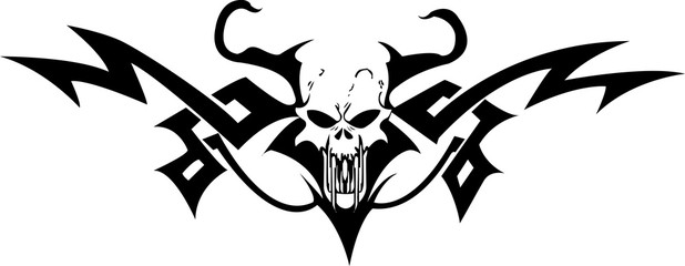 illustration skull in frame