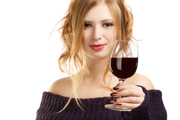 Beautiful woman with glass of red wine