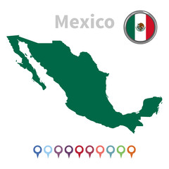 vector map and flag of Mexico