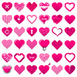 36 Abstract Pink Hearts