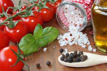 Küche, Gewüze für Pesto, Antipasi & Co.