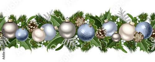Christmas horizontal seamless garland. Vector illustration.