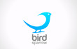 Logo Bird abstract icon design. Sitting Sparrow or Dove