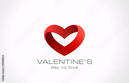 Logo Heart ribbon icon design. Infinity loop for Valentine day