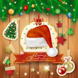 Christmas background with fir and Santa's hat