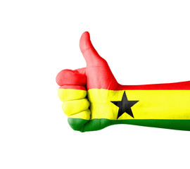 Hand with thumb up, Ghana  flag painted