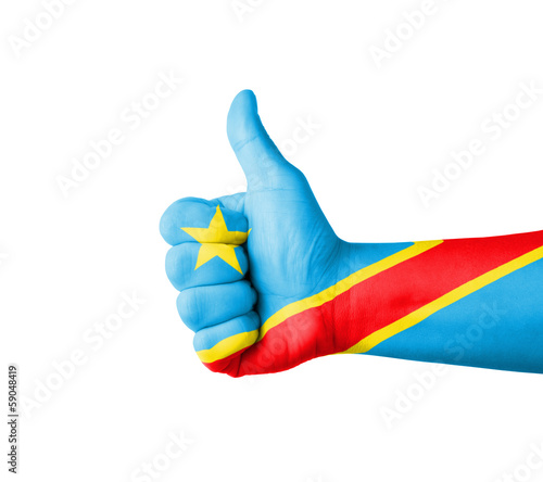 Hand with thumb up, Congo  flag painted