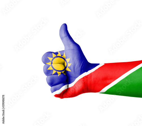 Hand with thumb up, Namibia  flag painted