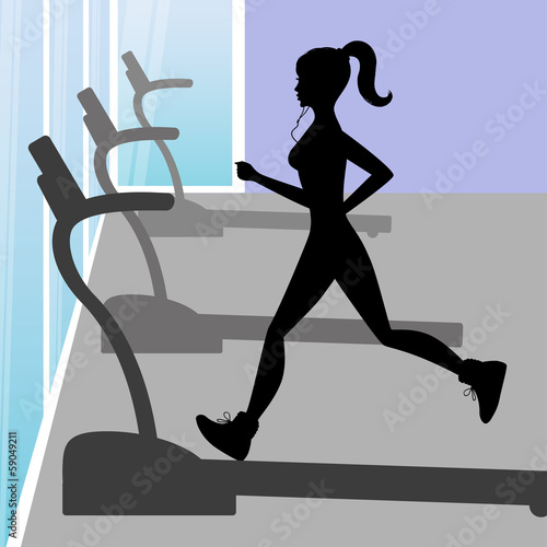 Silhouette of a young girl running in fitness centers