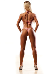 rear view of pretty muscular woman