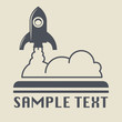 Retro rocket icon or sign, vector