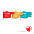 three steps fingers progress vector