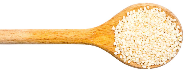 Wooden Spoon With Sesame Seeds Isolated
