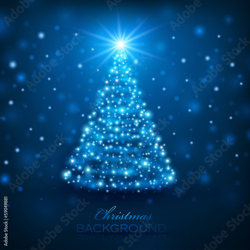 Magic Christmas Tree. Christmas background