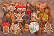 christmas background with gingerbread cookies ,cutters and spice