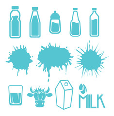Milk set of labels and icons
