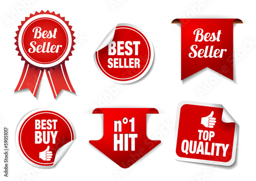 "Collection of ""Best Seller"" badges and labels"
