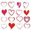 Set mit 16 abstrakten Herzen