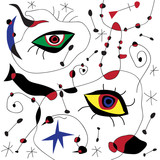 Vector abstract background. Fake framework of Mirò