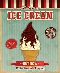 Vintage icecream poster design