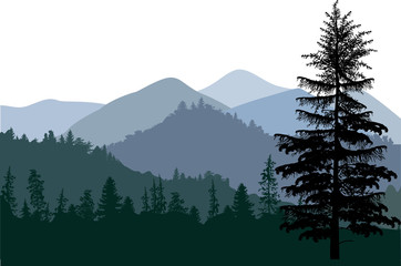 dark illustration with mountain forest