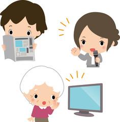 新聞やテレビを見る市民