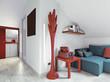 soggiorno moderno  con divano blu in mansrda