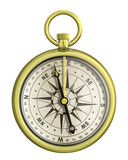old gold nautical compass isolated