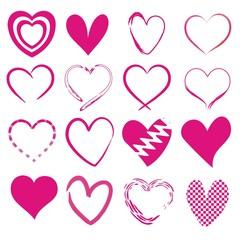 Set mit 16 pinken Herzen
