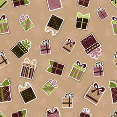 Seamless Christmas pattern with gifts