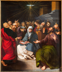 ntwerp - Paint of Pentecost scene from cathedral