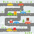 Winter road with cars illustration. Chrristmas eve