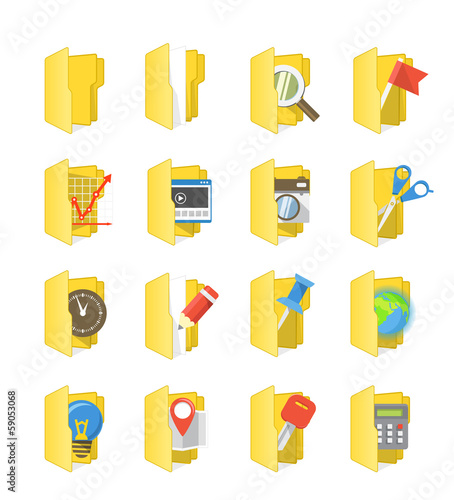 Yellow folders collection with different content