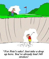 Golfer in deep hole