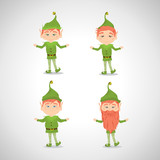 Happy Elfs - Isolated On Gray Background - Vector Illustration