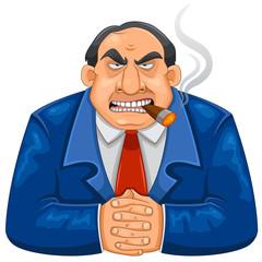 tough rich boss smoking cigar and looking serious