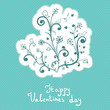 Cute abstract flowers, valentines day, badge