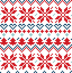 Christmas Nordic seamless pattern ( blue and red )