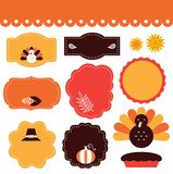 Thanksgiving tags and elements set isolated on white