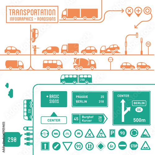 Transportation infographics with basic roadsigns