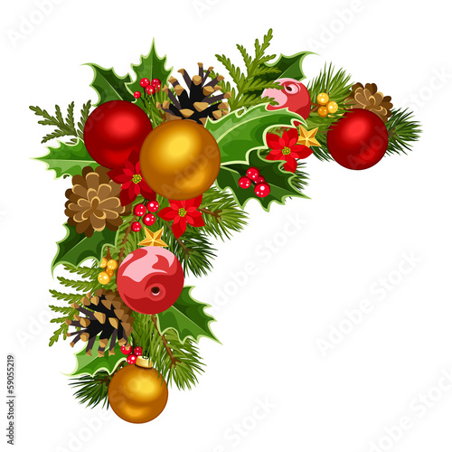 Christmas decorative corner. Vector illustration.
