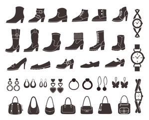 Set of vector silhouettes: shoes and accessories. Icons.