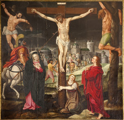 Gent - Crucifixion paint on the wood plate