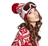 female skier wearing ski glasses isolated on light background.
