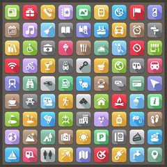 flat travel & camping iconset with shadow